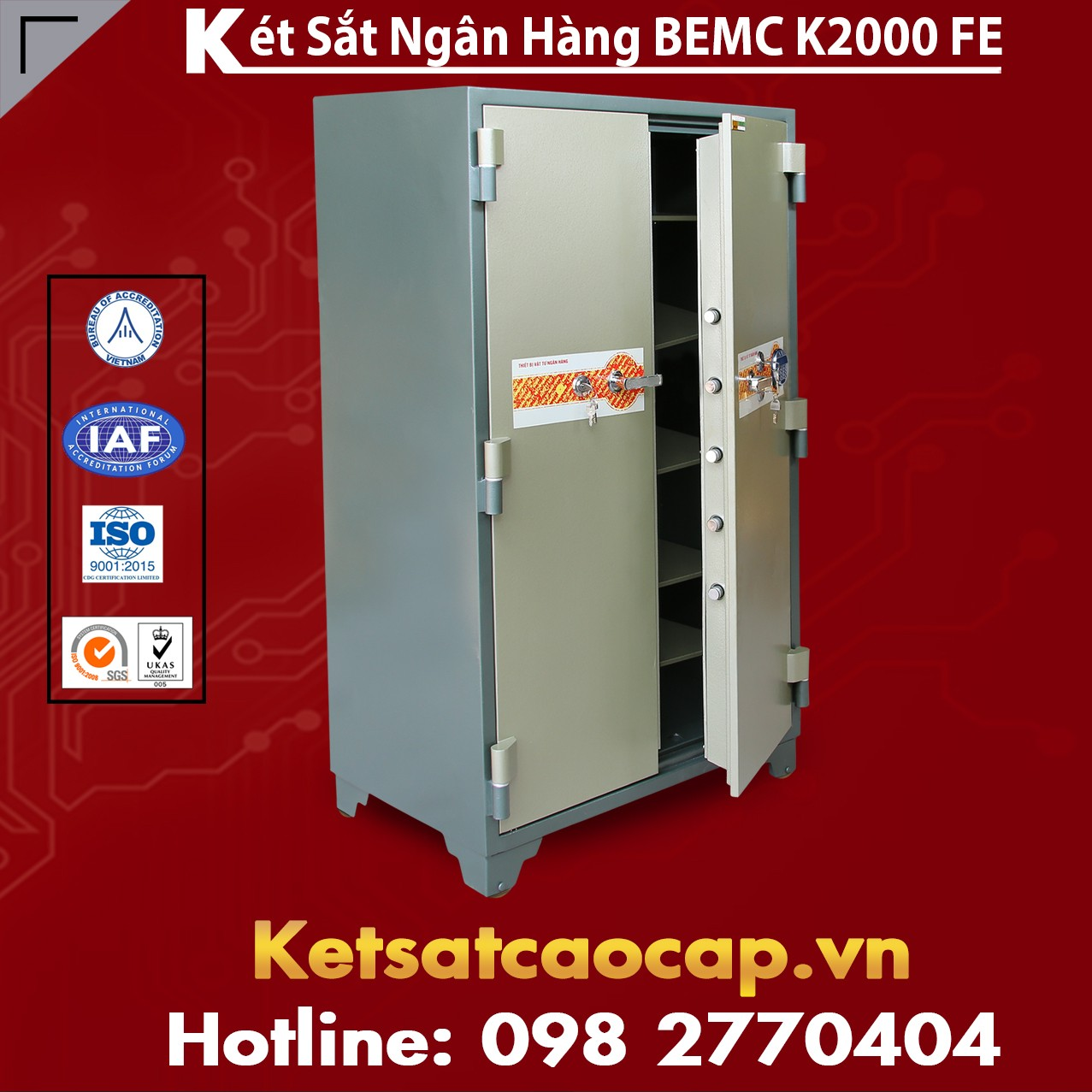 Két Sắt Vân Tay Điện Tử Hàn Quốc 2 Cửa BEMC K2000 FE HT khóa an toàn