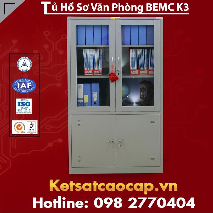 Tủ Hồ Sơ BEMC K3 Có 2 Cánh Kính và 2 Cánh Sắt Rẻ Tận Gốc Tại Kho Hàng