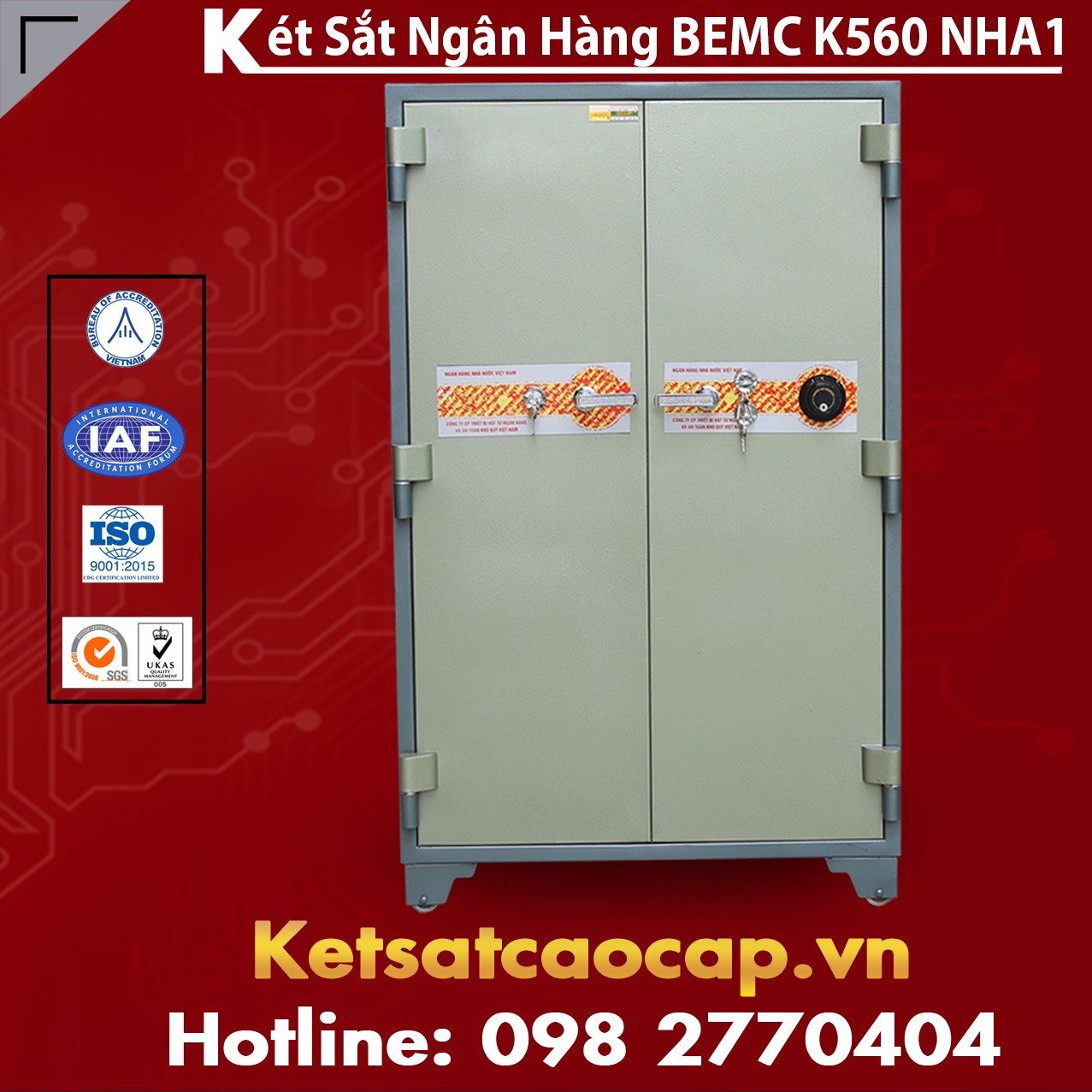 Két Sắt Ngân Hàng BEMC K560 NHA1 Top 1 Két Bạc Tiêu Chuẩn Xuất Mỹ