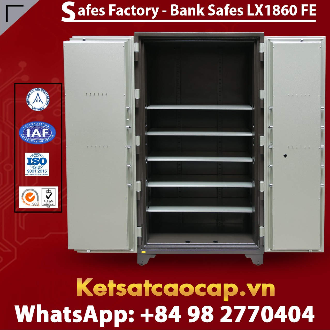 Bank Safes LX 1860 FE Two Door Fingerprint Electronic Locking System