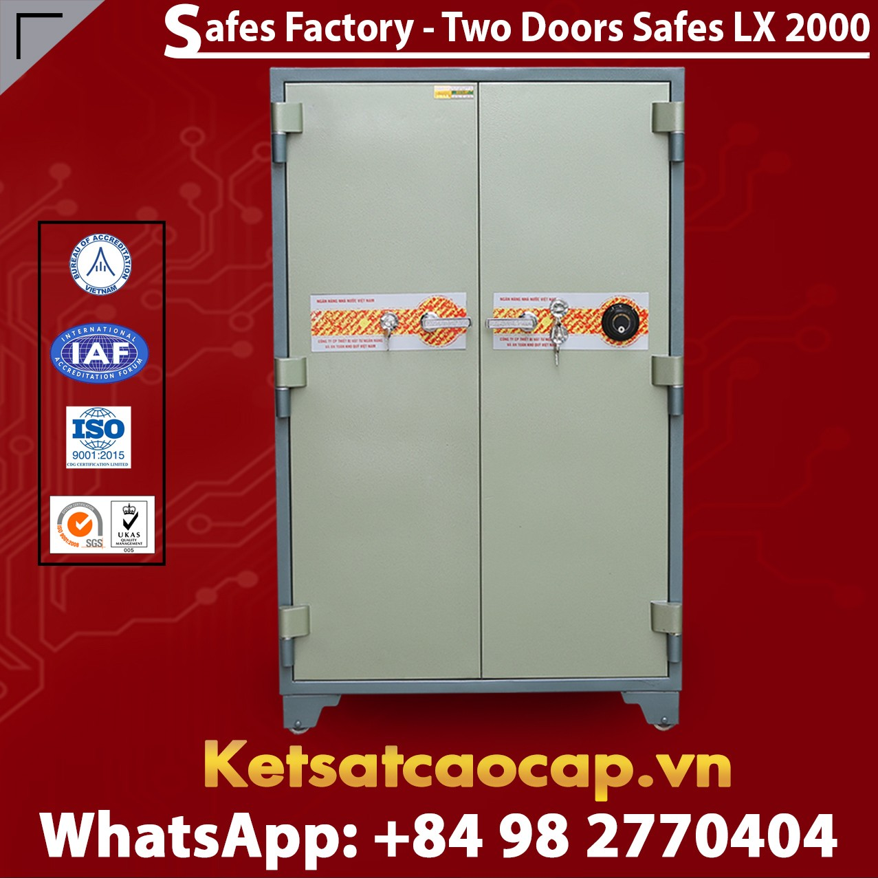 Bank Safes LX2000 DK Two Doors Innovative Mechanical Fireproof Safes