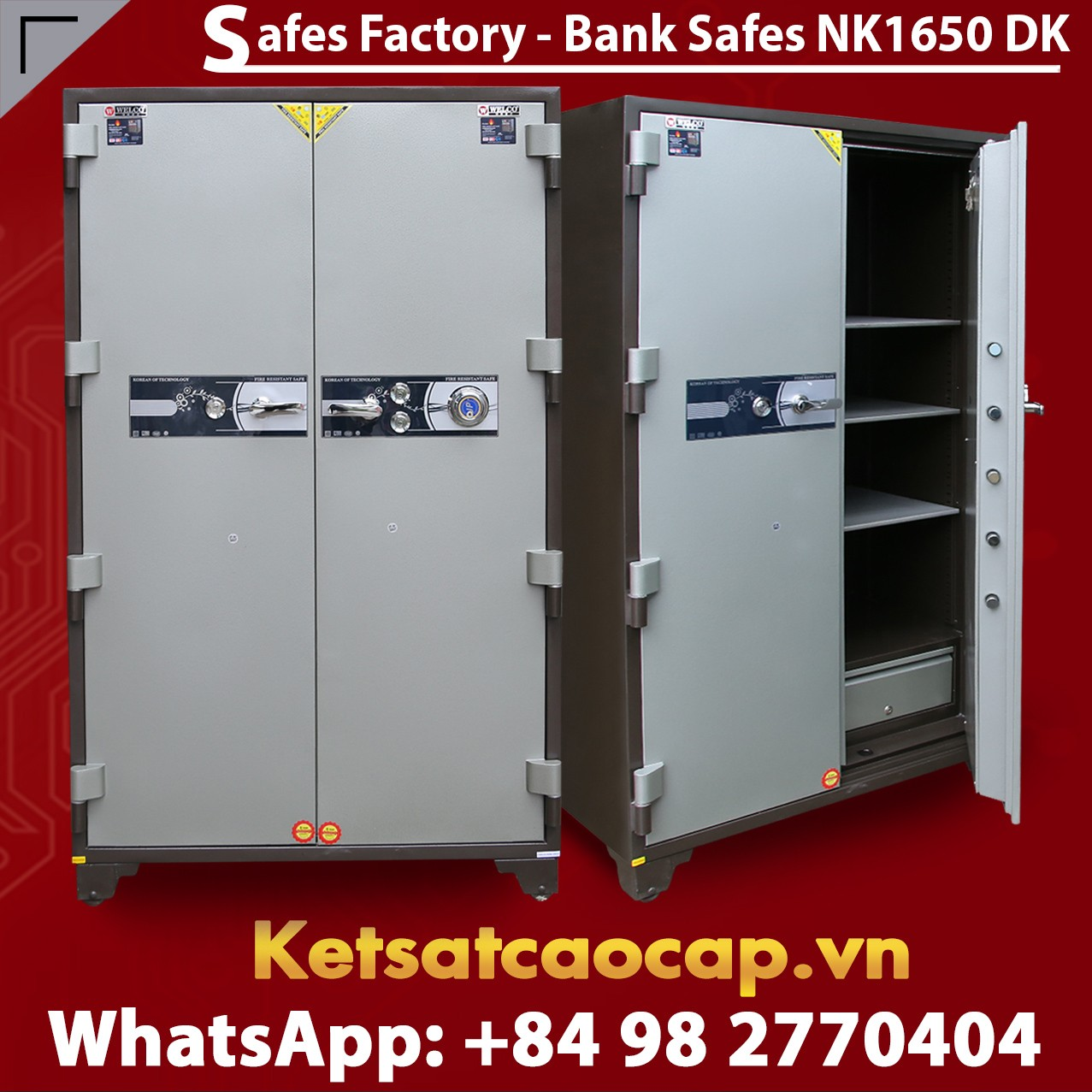 Bank Safes NK 1650 DK Two Door Fingerprint Locking Customized