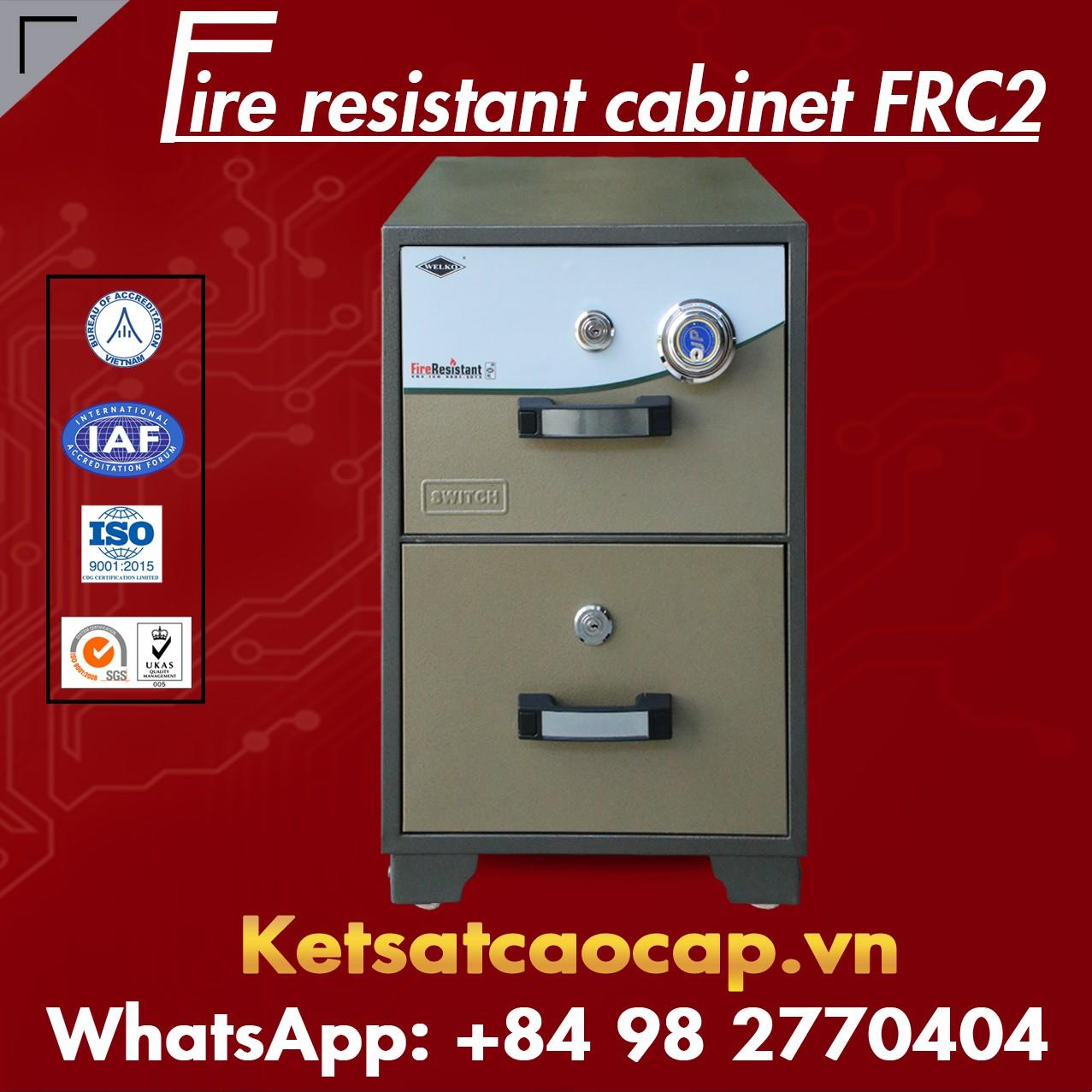 Tủ Hồ Sơ Chống Cháy 2 Ngăn WELKO FRC2 DK Brown
