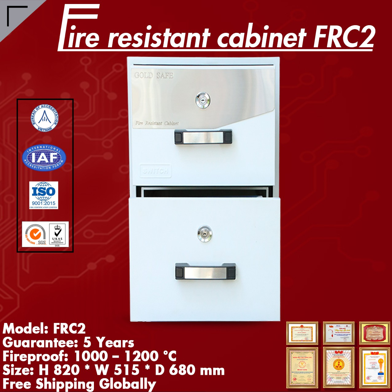 Fire Resistant Cabinets WELKO FRC2 KEY White 1111