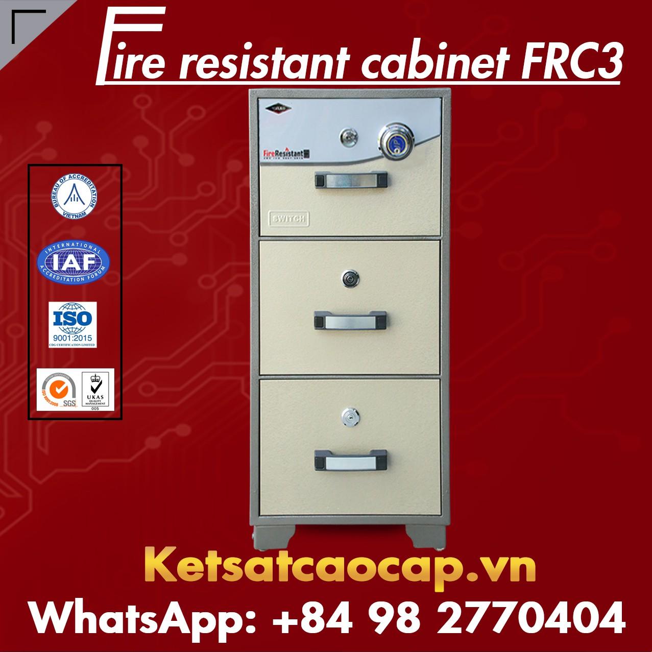 Tủ Hồ Sơ Chống Cháy 3 Ngăn WELKO FRC3 DK Brown