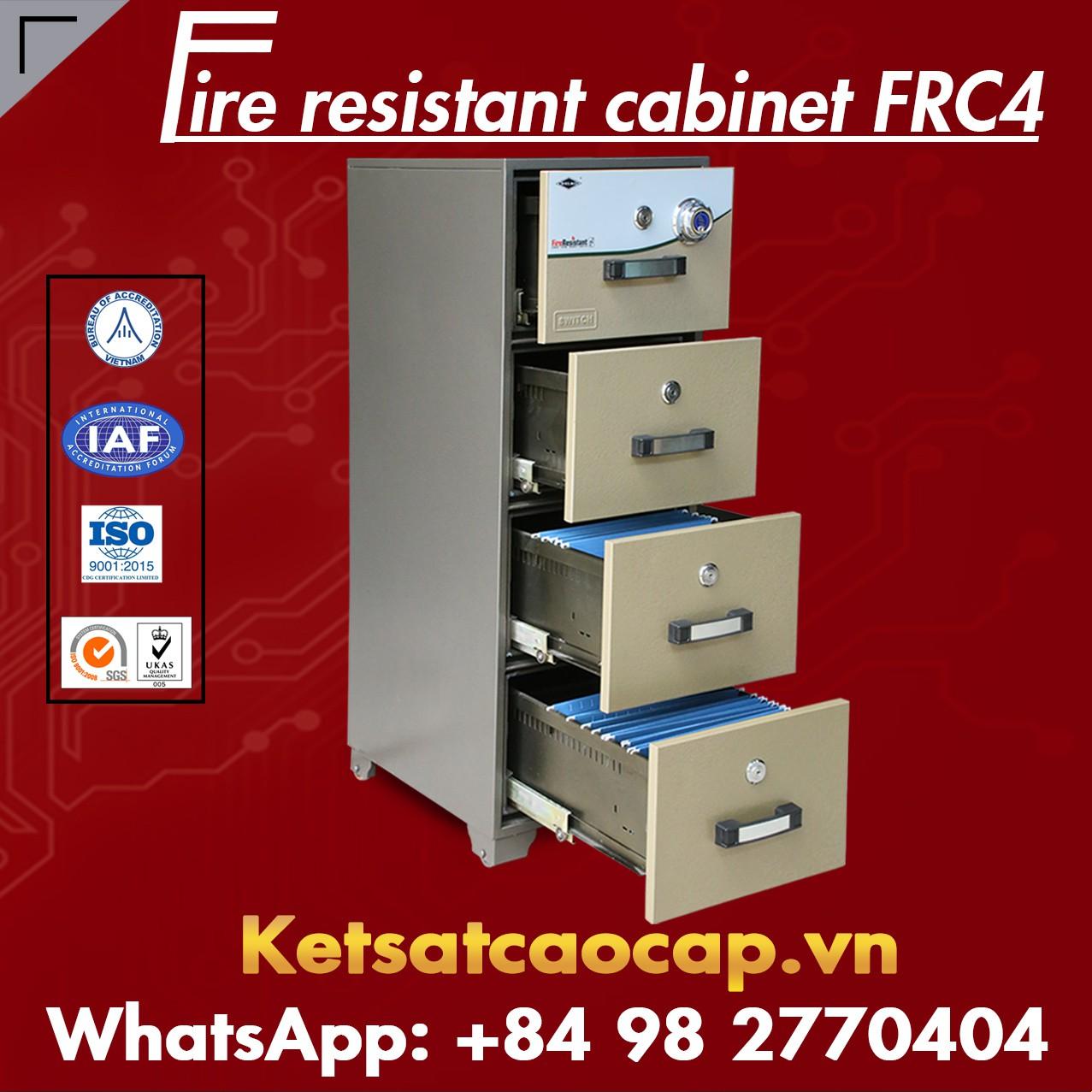 Tủ Hồ Sơ Chống Cháy 4 Ngăn WELKO FRC4 DK Brown
