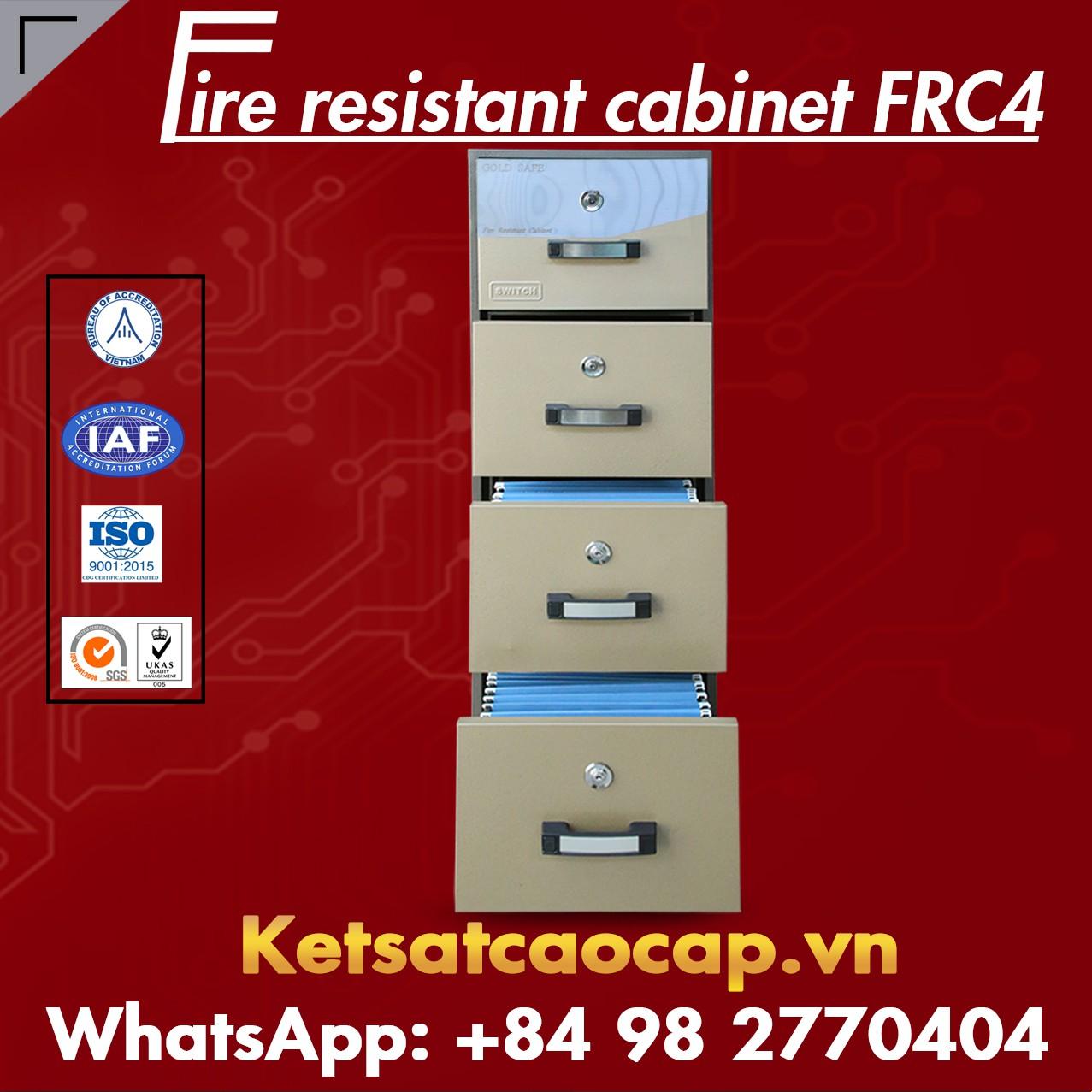 Tủ Hồ Sơ Chống Cháy 4 Ngăn WELKO FRC4 KEY Brown