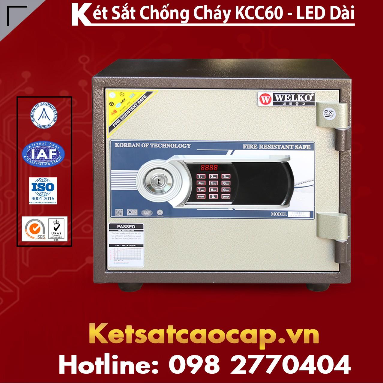 Két Sắt  Mini Chống Cháy WELKO KCC60 - Led Dài