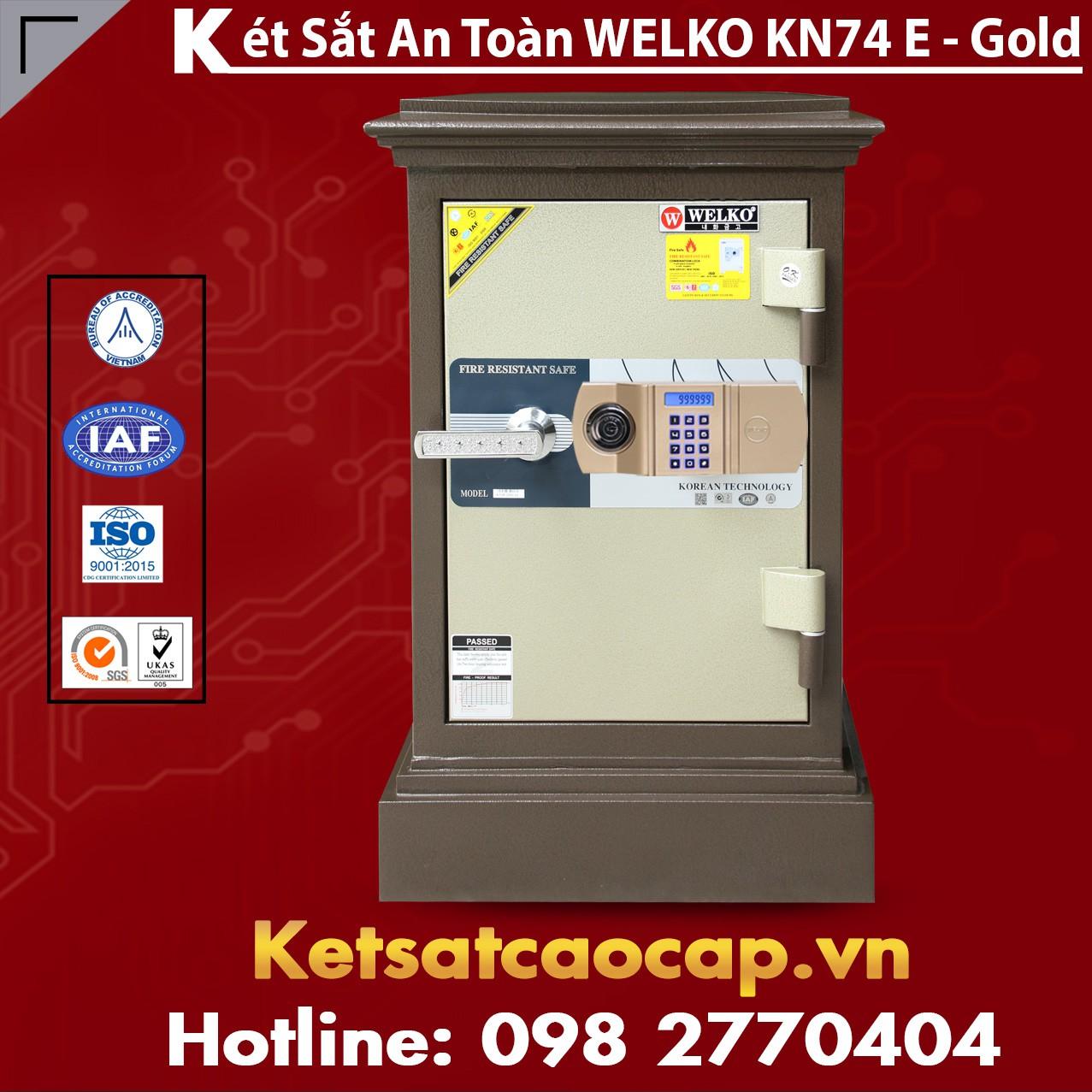Két Sắt Công Ty Văn Phòng WELKO KN74 Brown - E Gold