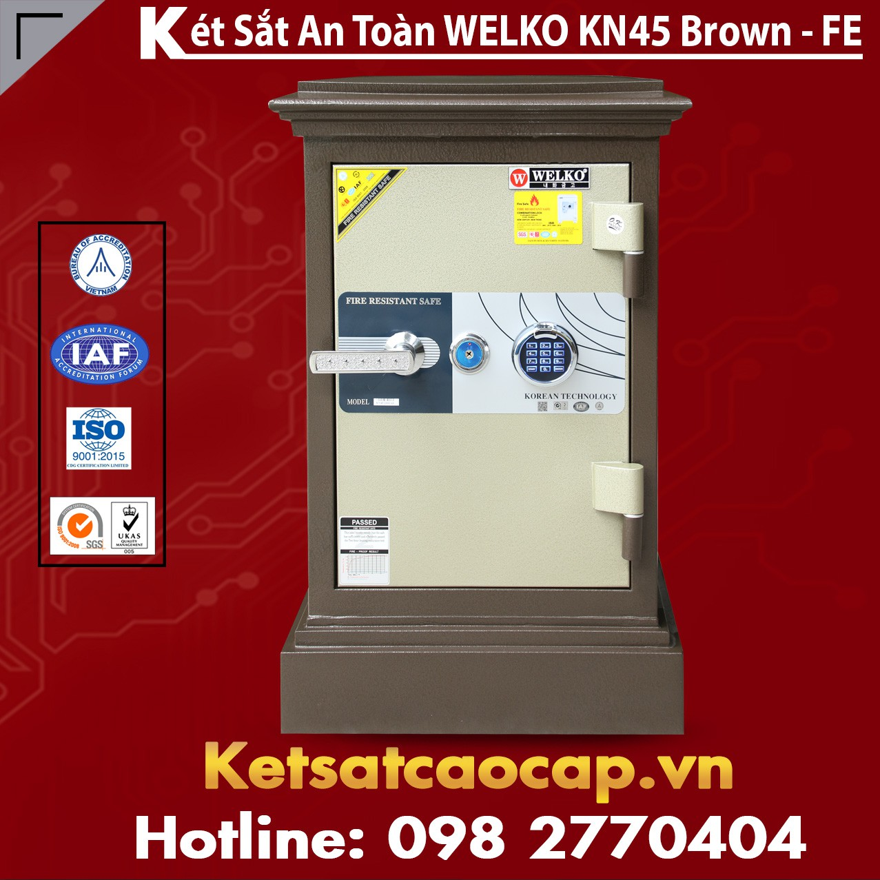 Két Sắt Khoá Vân Tay WELKO KN45 Brown - FE