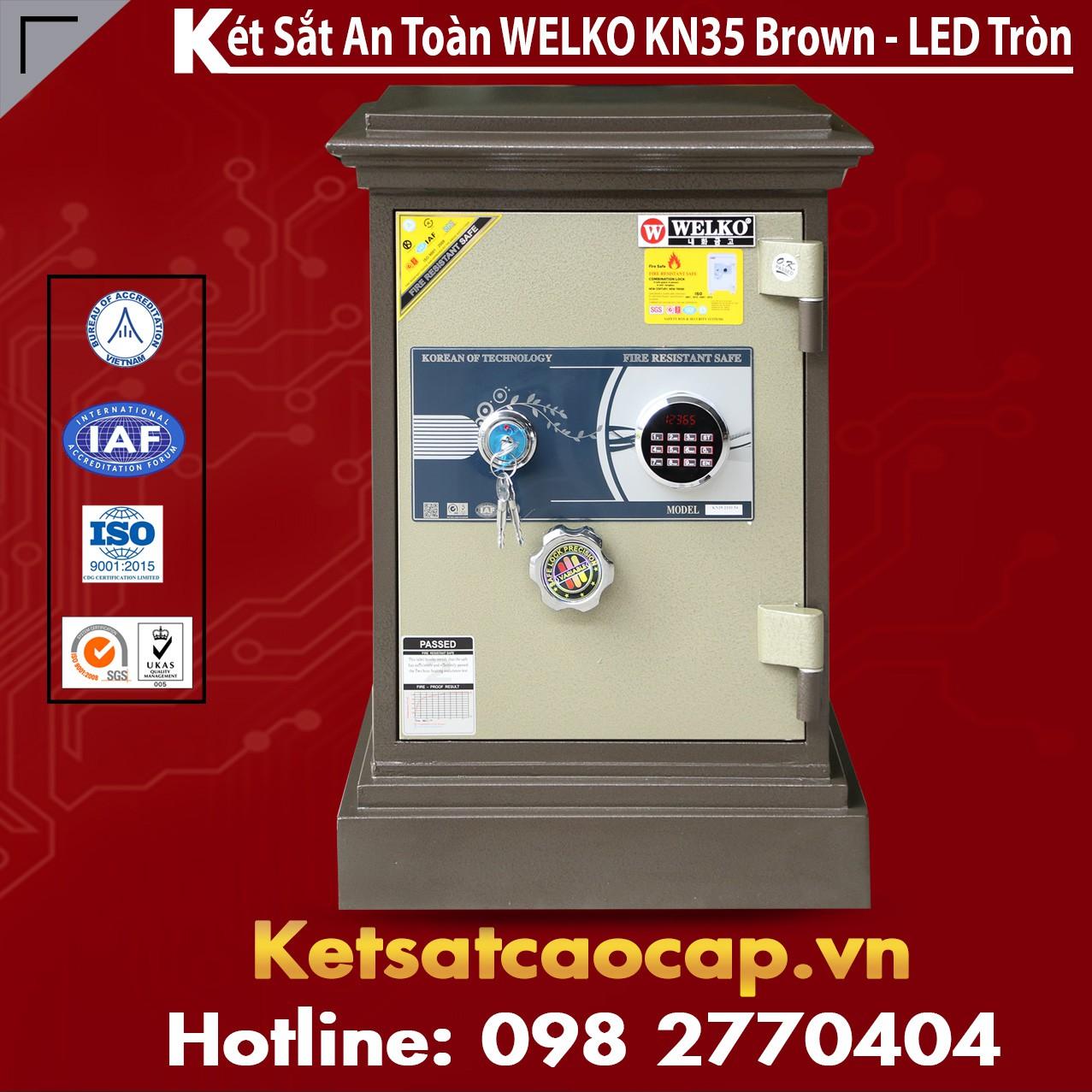 Két Sắt WELKO KN35 Brown - LED Tròn