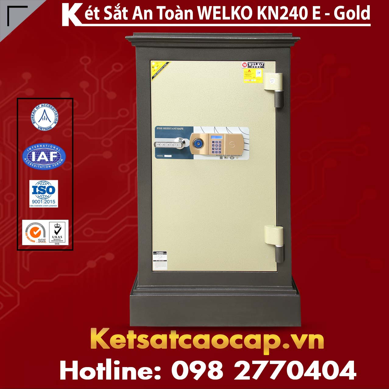 Két Sắt Đặt Theo Yêu Cầu WELKO KN240 Black E Gold