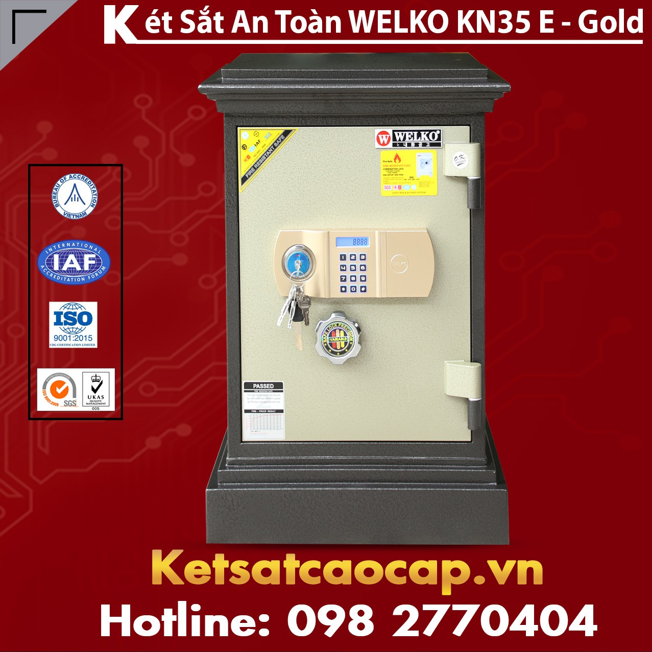 Két Sắt Đặt Theo Yêu Cầu WELKO KN35 Black E Gold