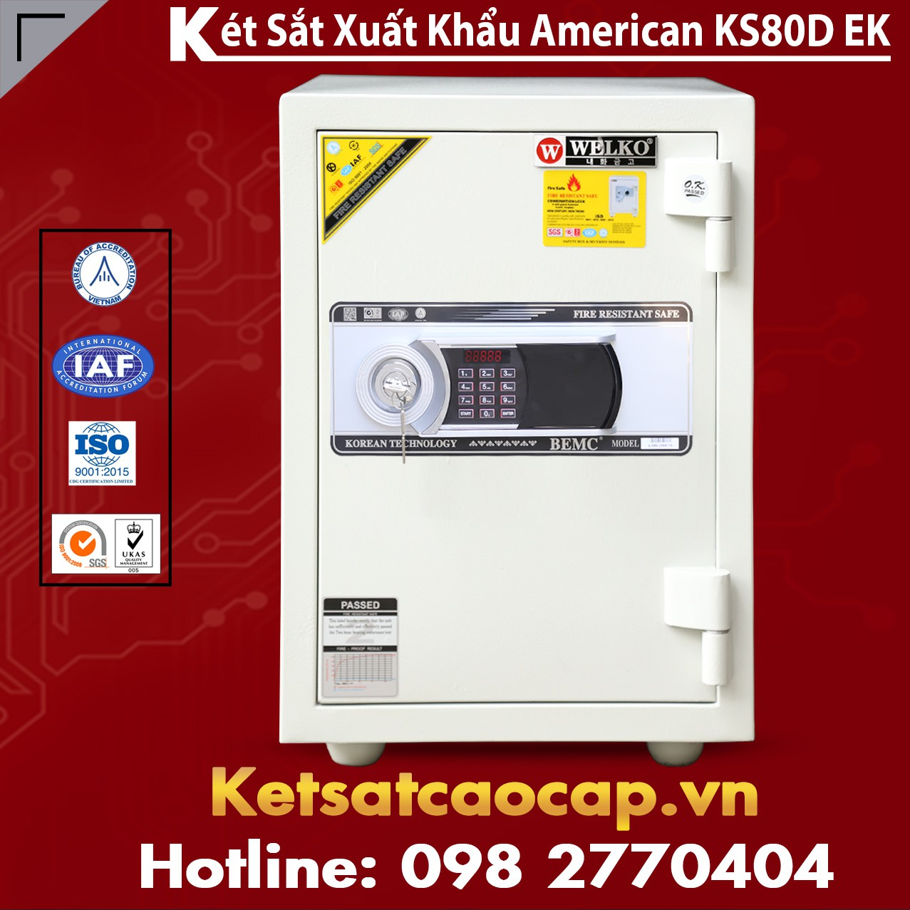 Két Sắt Hàn Quốc KS 80D - White - Led Dài