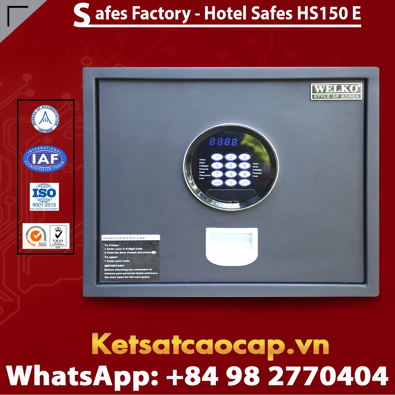Két Sắt Khách Sạn Hotel Safes WELKO HS150 Black - E