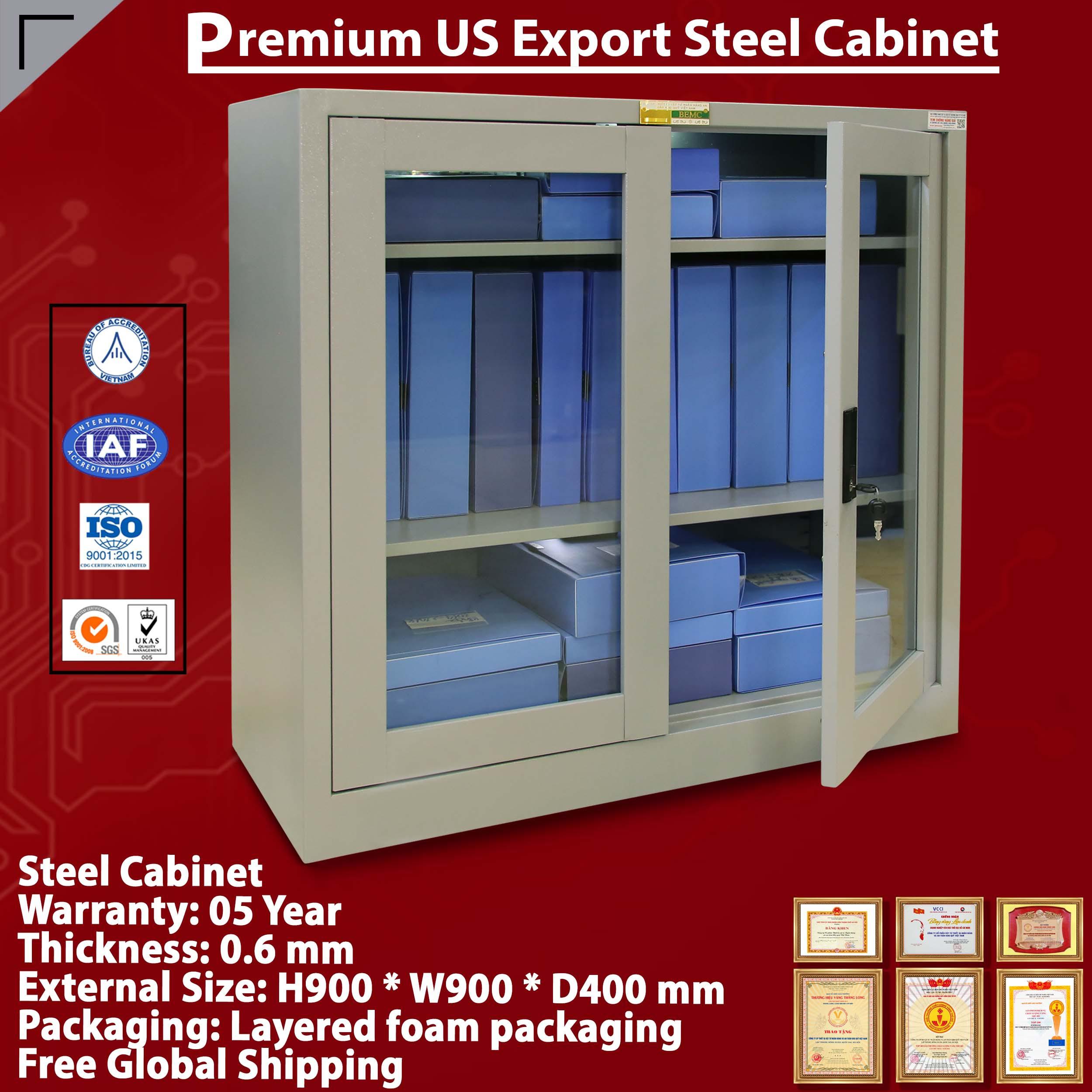 Glass door metal cabinet