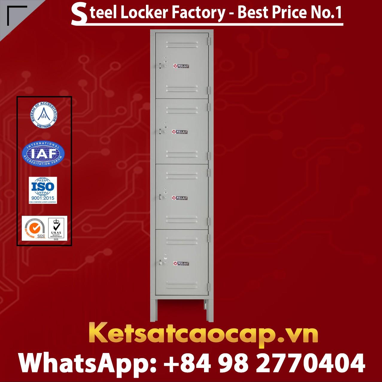 Steel Locker 4 Tier 12 x 15 x 18 4 Door Ready To Assemble Gray