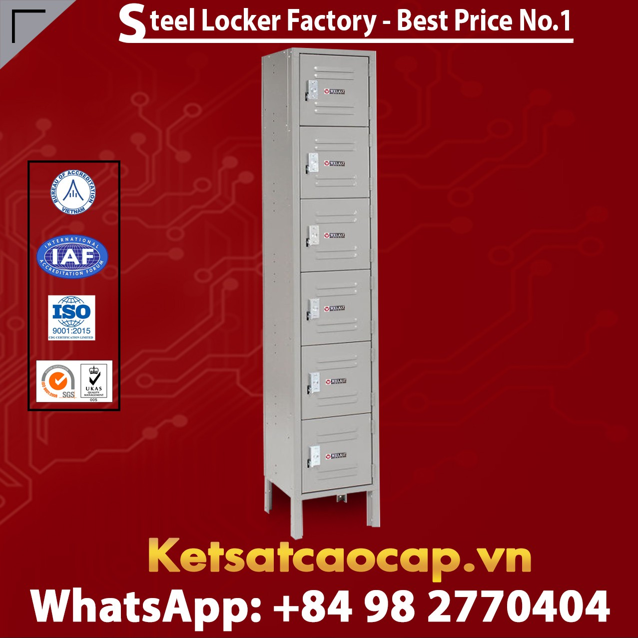 Steel Locker 6 Tier 12 x 12 x 12 6 Door Ready To Assemble Gray