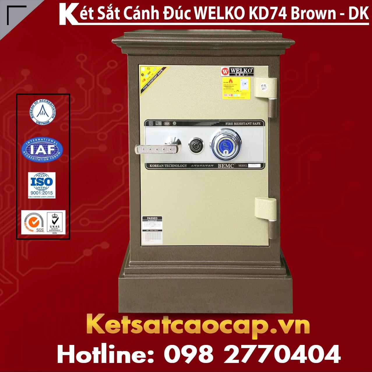 Két Sắt Mini Chính Hãng WELKO KD74 Brown - DK