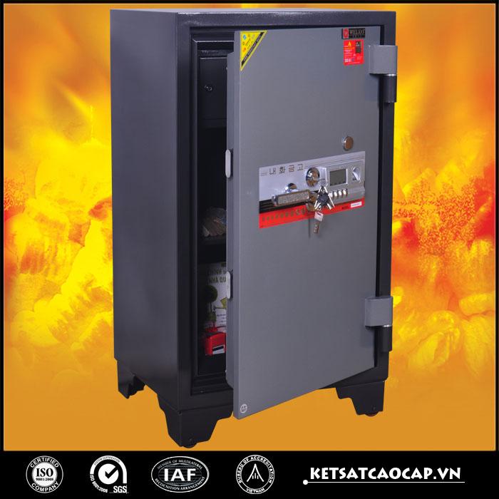 đặc điểm sản phẩm Két sắt chống cháy kcc200 2K Vân Tay