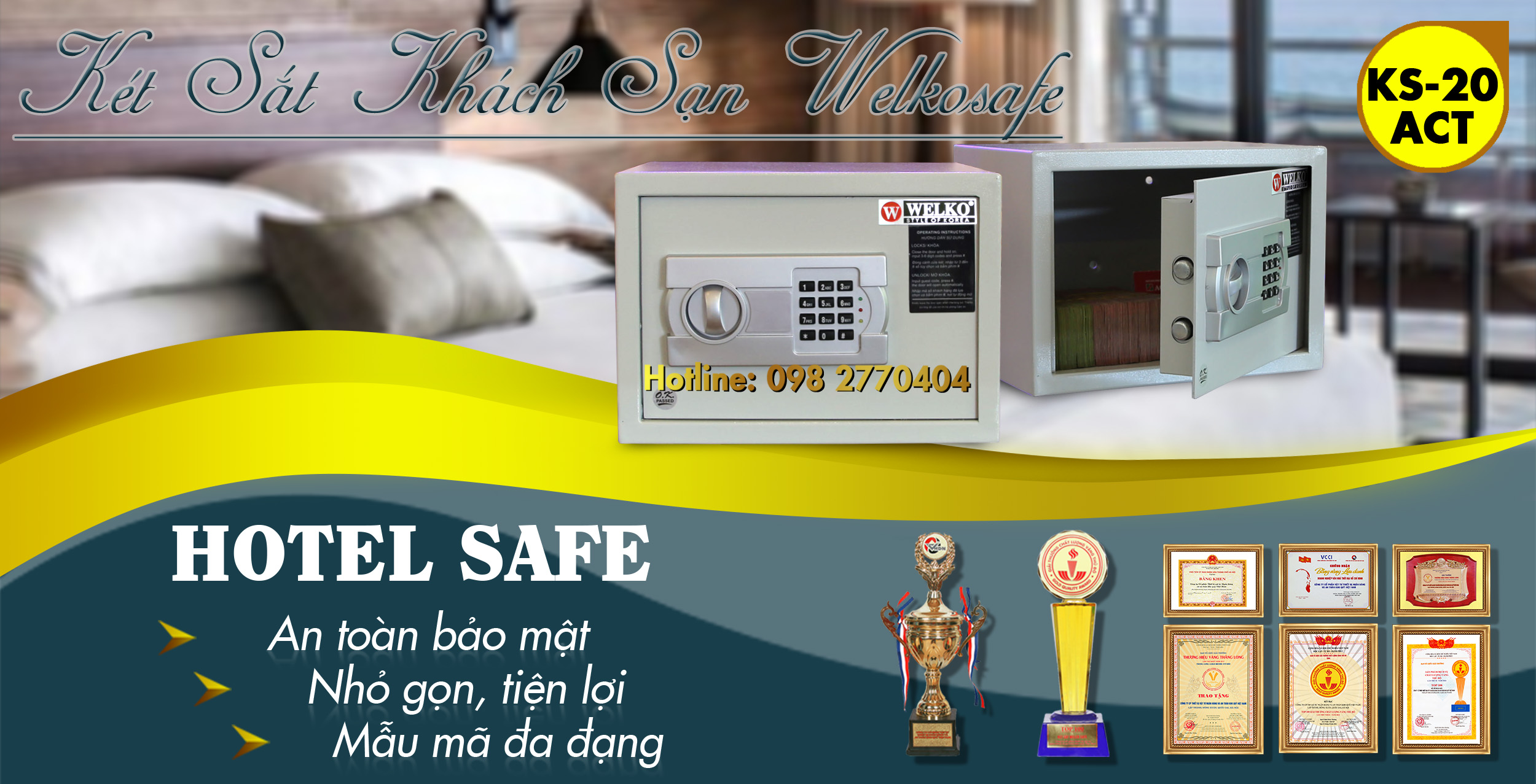 hình ảnh sản phẩm két sắt khách sạn điện tử mini hà nội giá rẻ