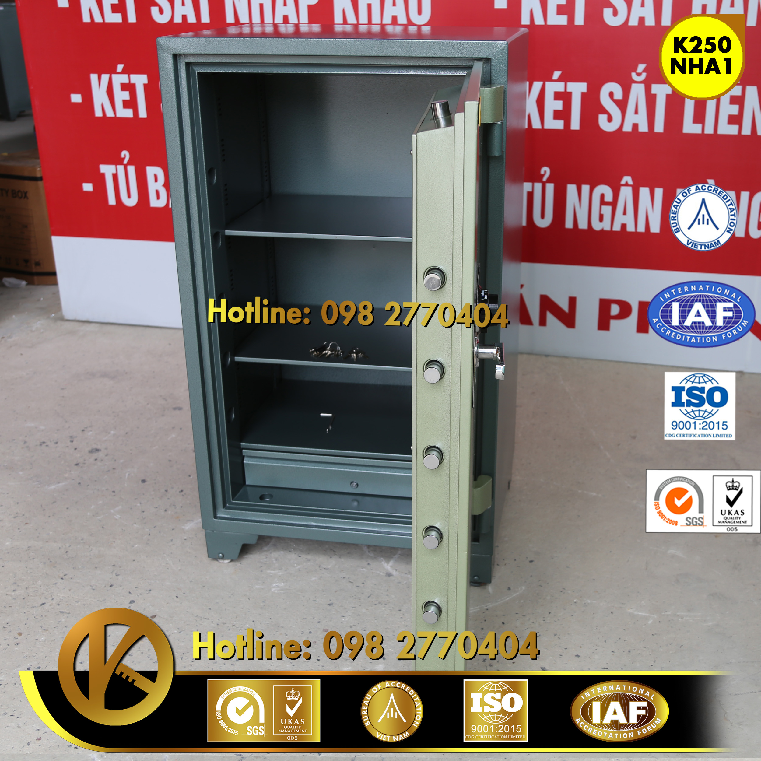 đặc điểm sản phẩm Két sắt ngân hàng K250 khóa đổi mã