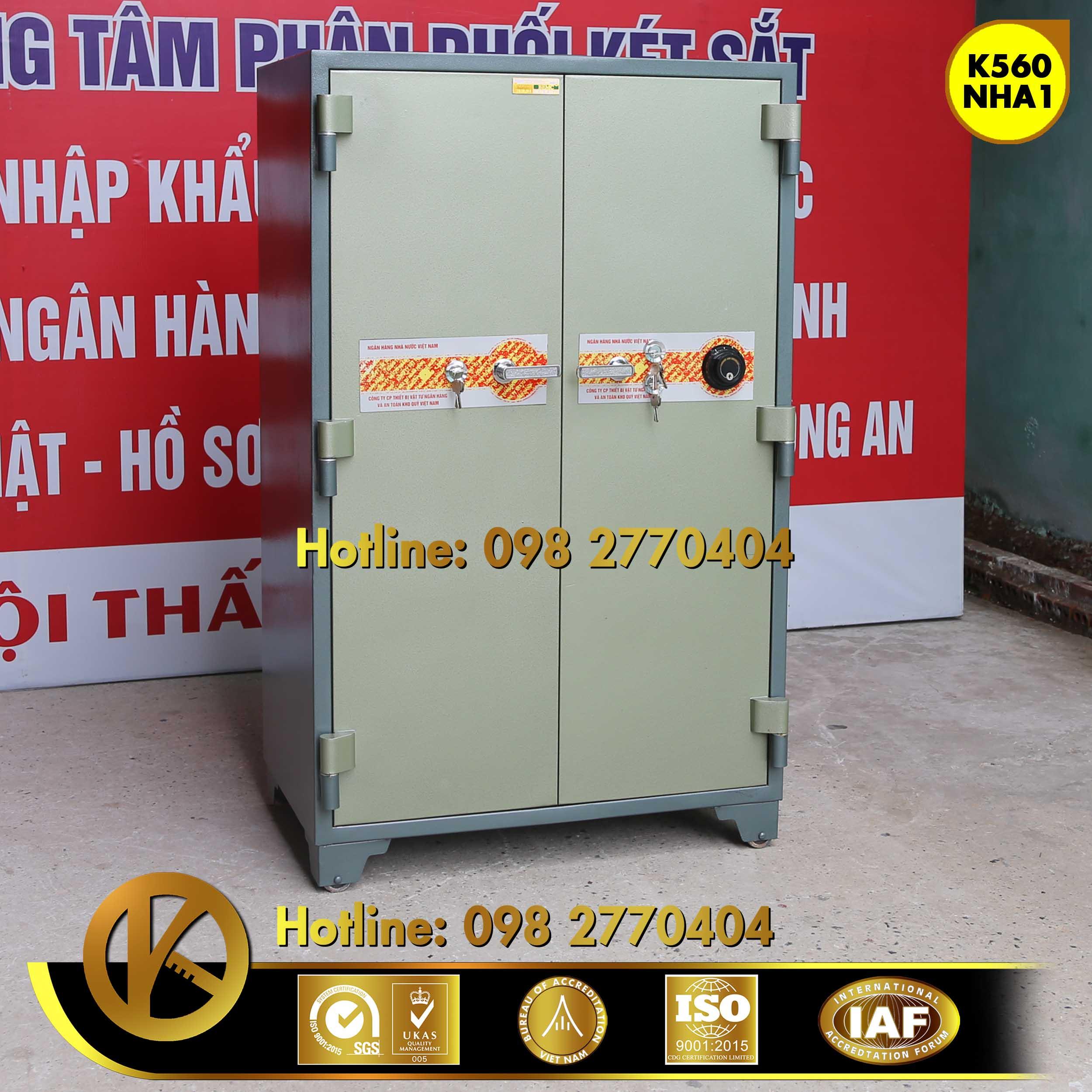 đặc điểm sản phẩm Két sắt ngân hàng K560 NHA1 khóa đổi mã Xanh