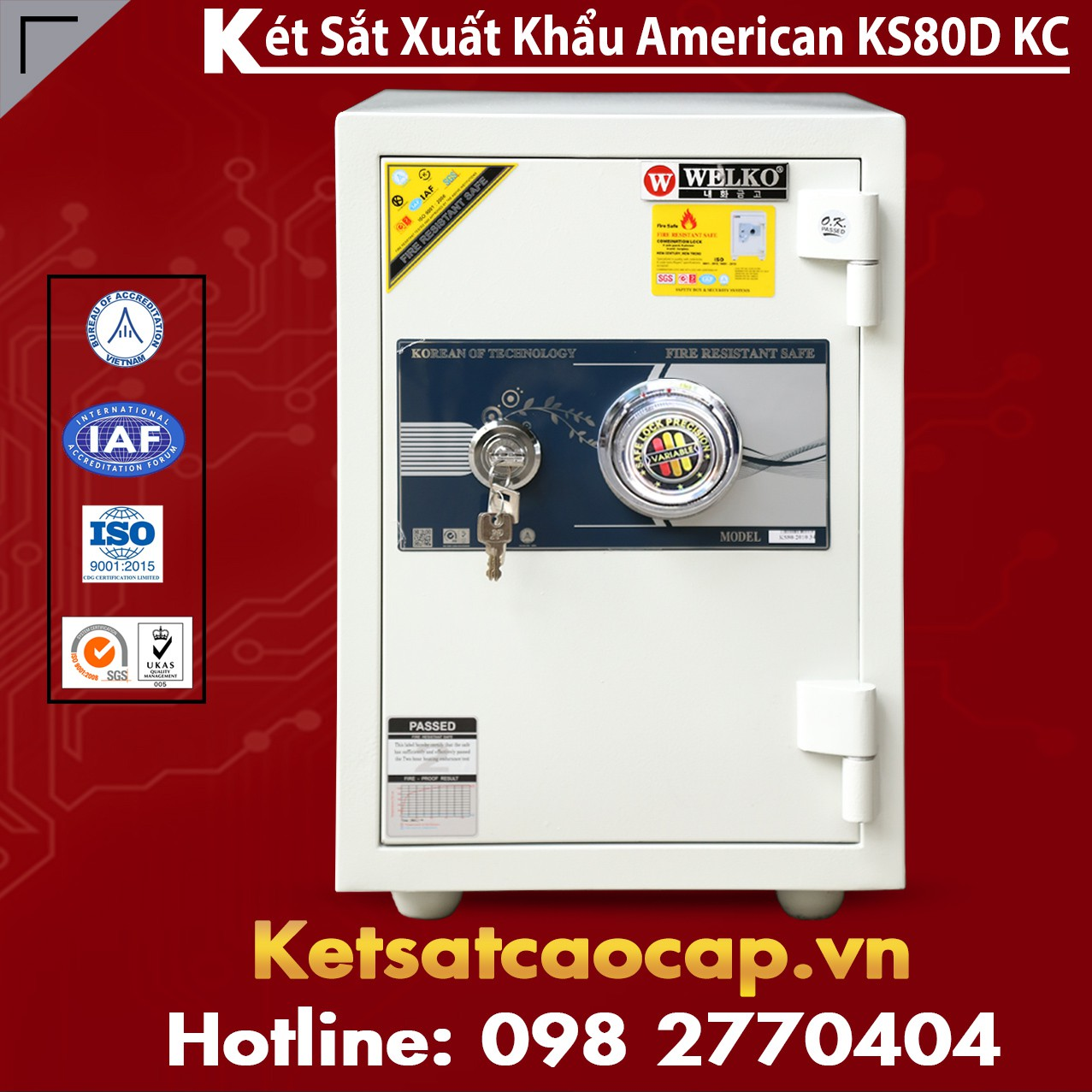 Két Sắt Văn Phòng Welko KS80D - KC White