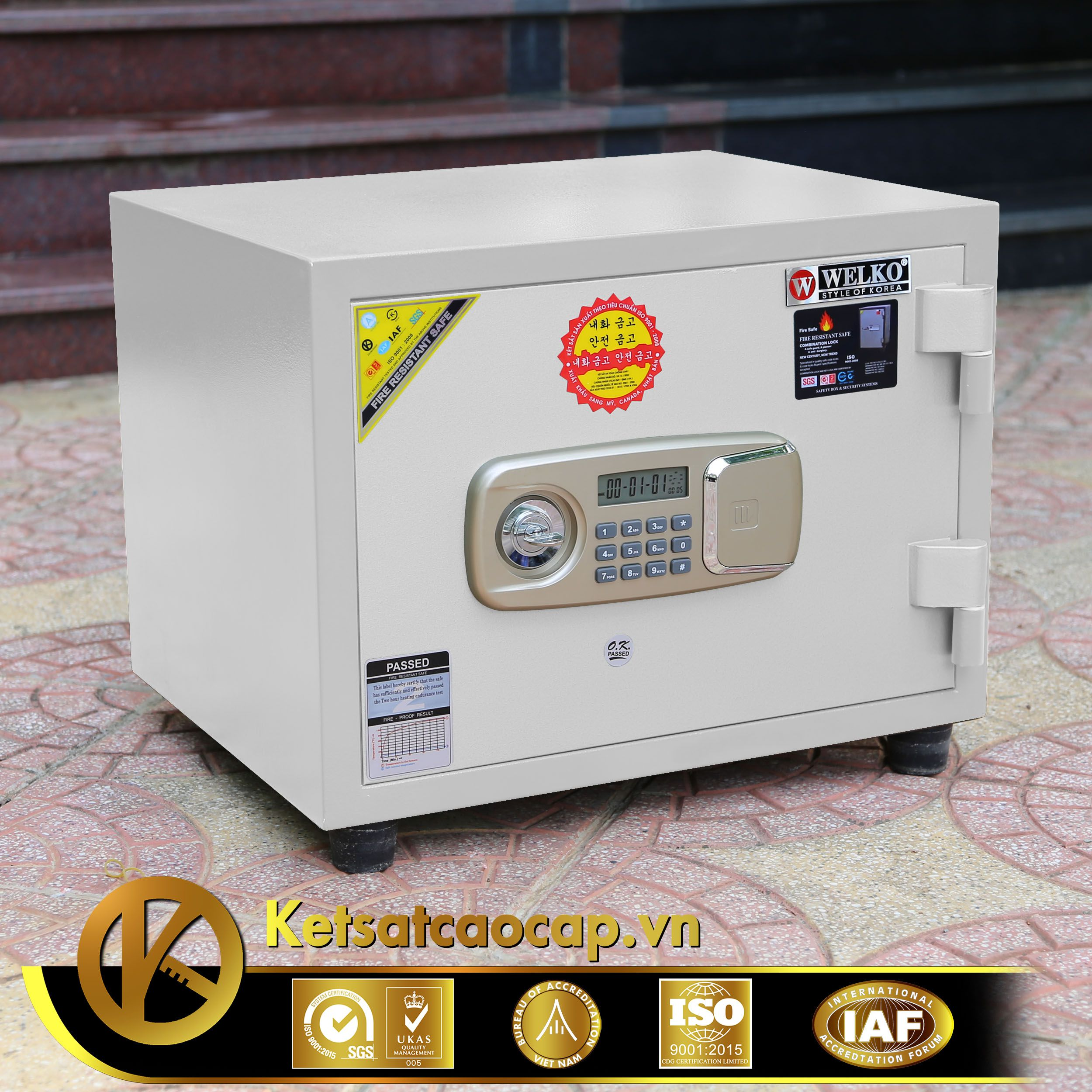 cach doi ma ket sat mini WELKO Fire Resistant Safes