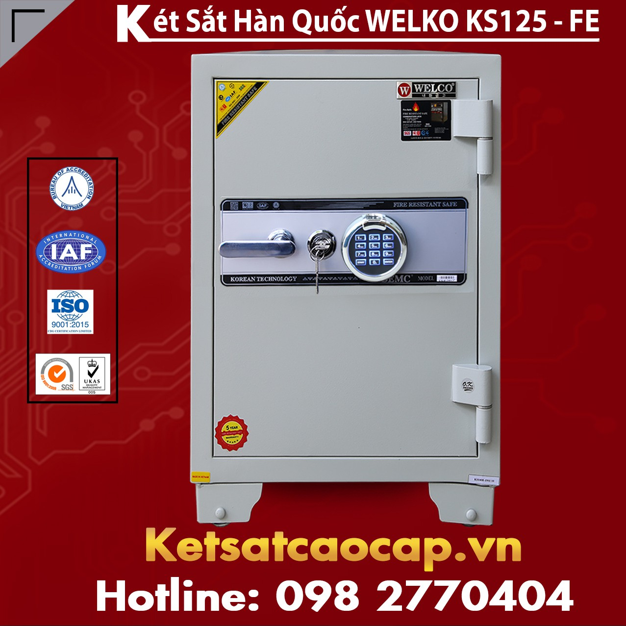 Két Sắt Vân Tay KS125 - White FE