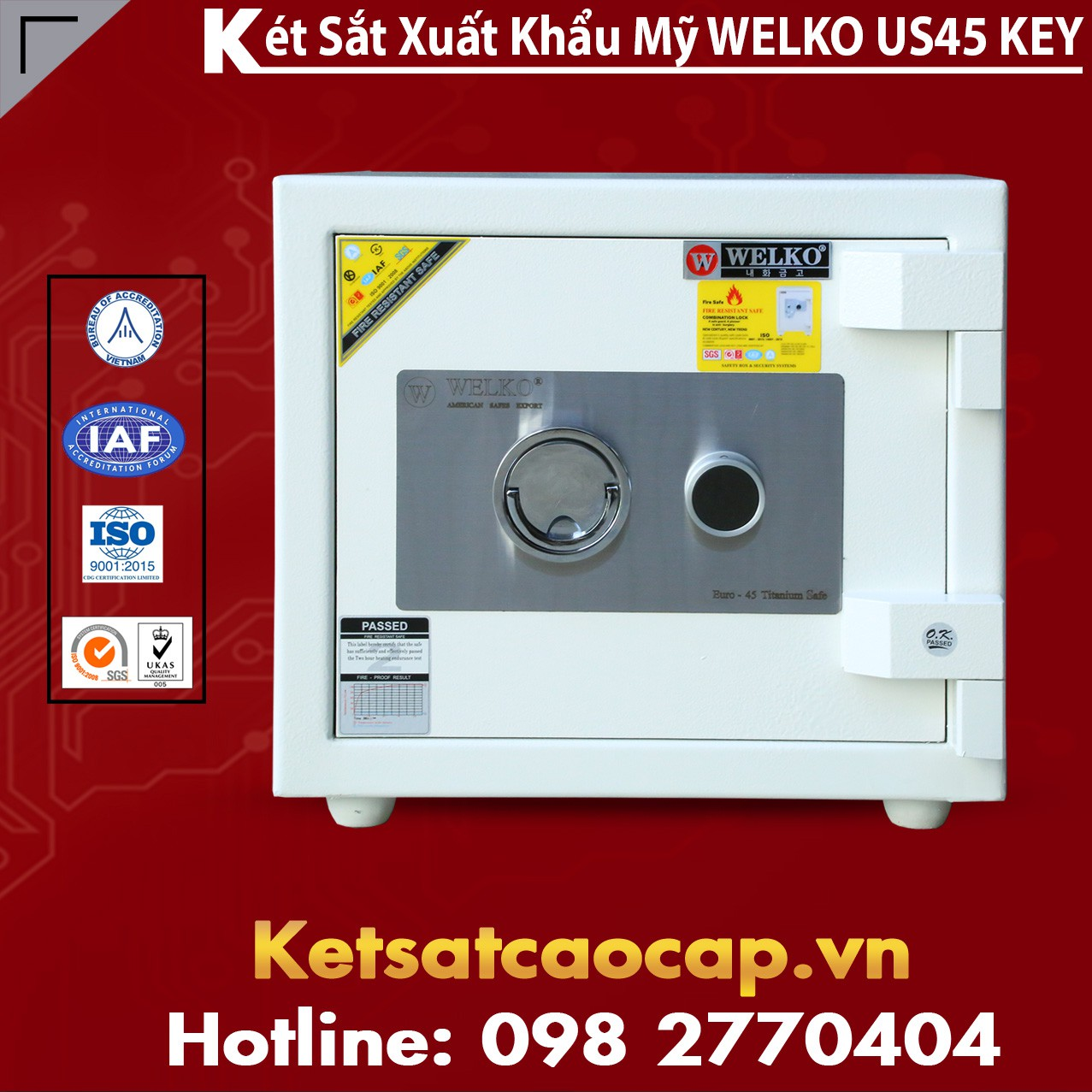 Két Sắt Mini Safes WELKO US45 KEY White