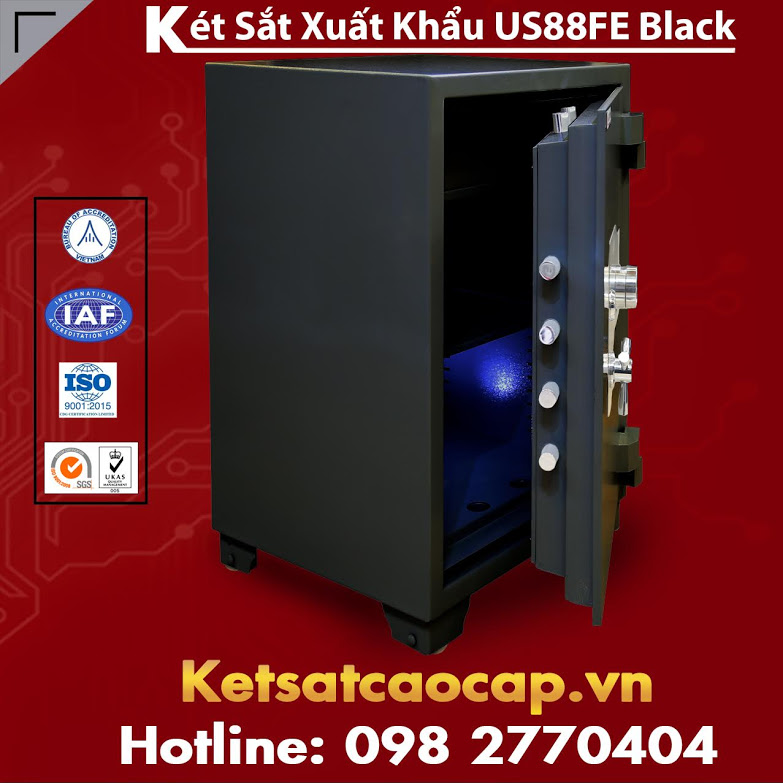 Két Sắt Xuất Khẩu US 88 FE Black Khoá Vân Tay Bảo Mật Cao Chính Hãng