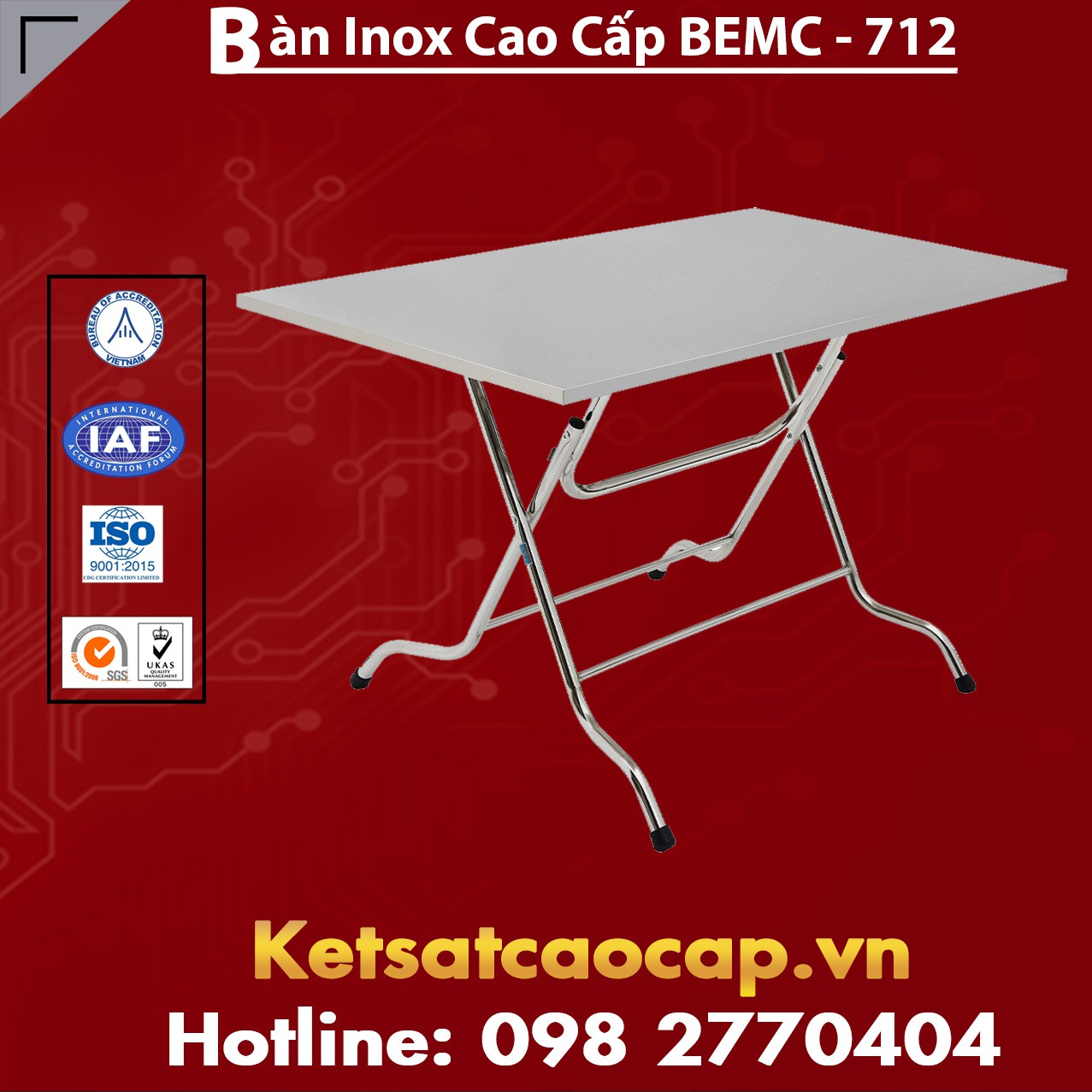 Bàn Inox Cao Cấp BEMC - 712