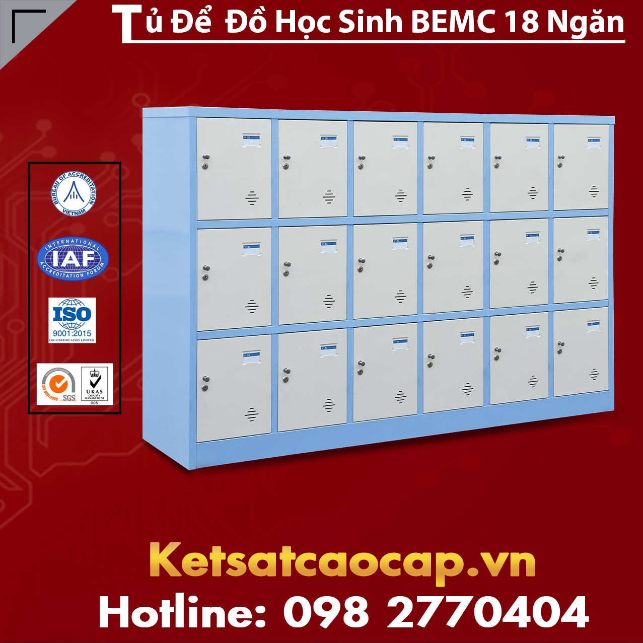Tủ Để Đồ Học Sinh BEMC 18 Ngăn