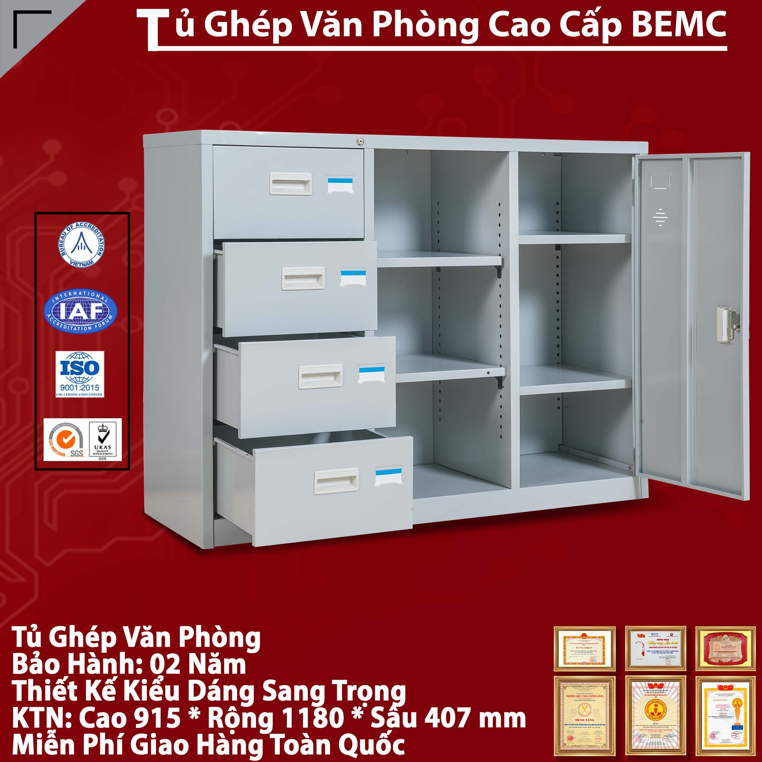 Tủ Tài Liệu Hồ Sơ BEMC-118-4D