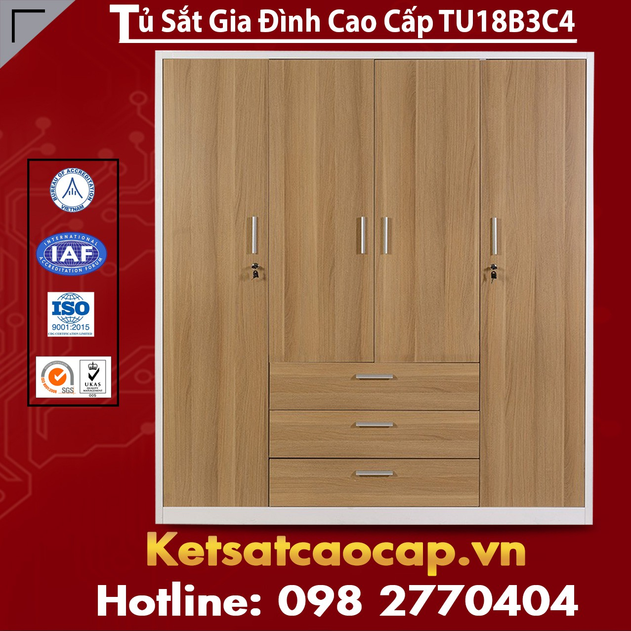 Tủ Sắt Gia Đình TU18B3C4