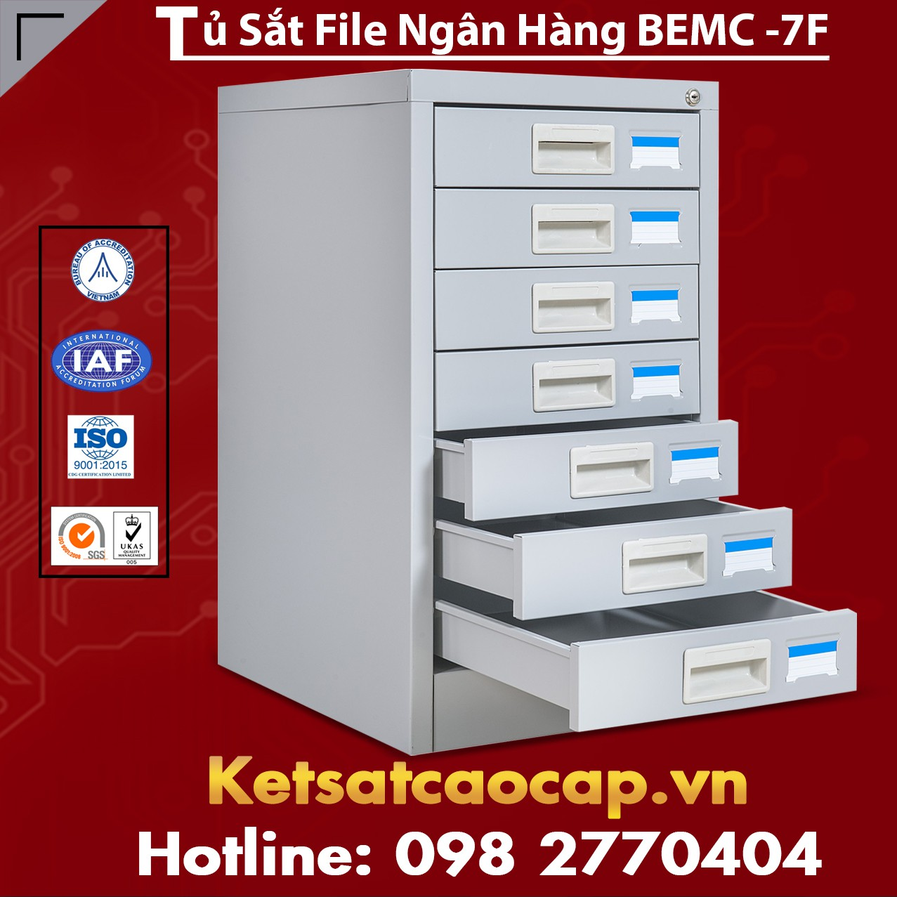 Tủ Sắt File Ngân Hàng BEMC - 7F