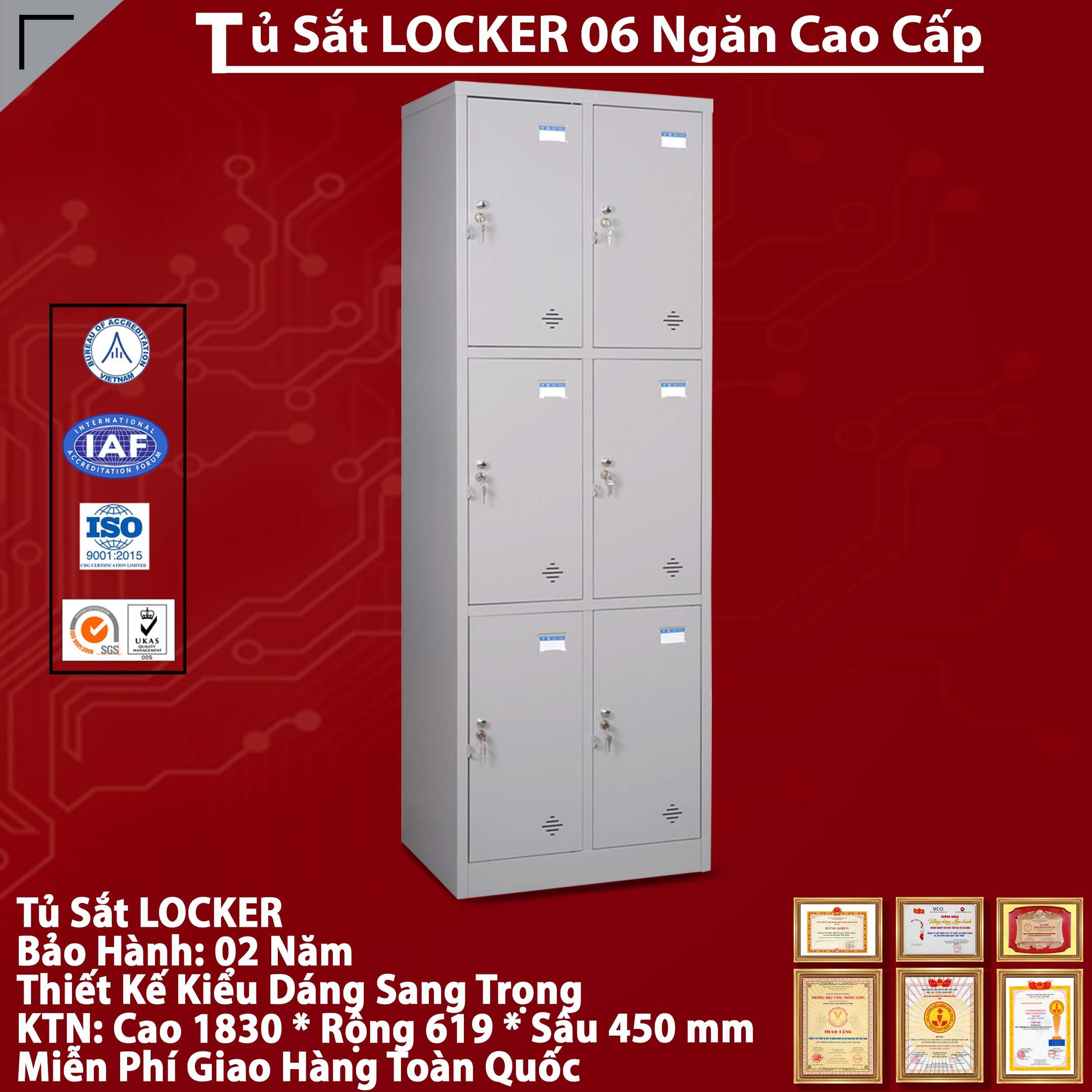 Tủ Locker Sắt 6 Ngăn - Giao Hàng Siêu Tốc