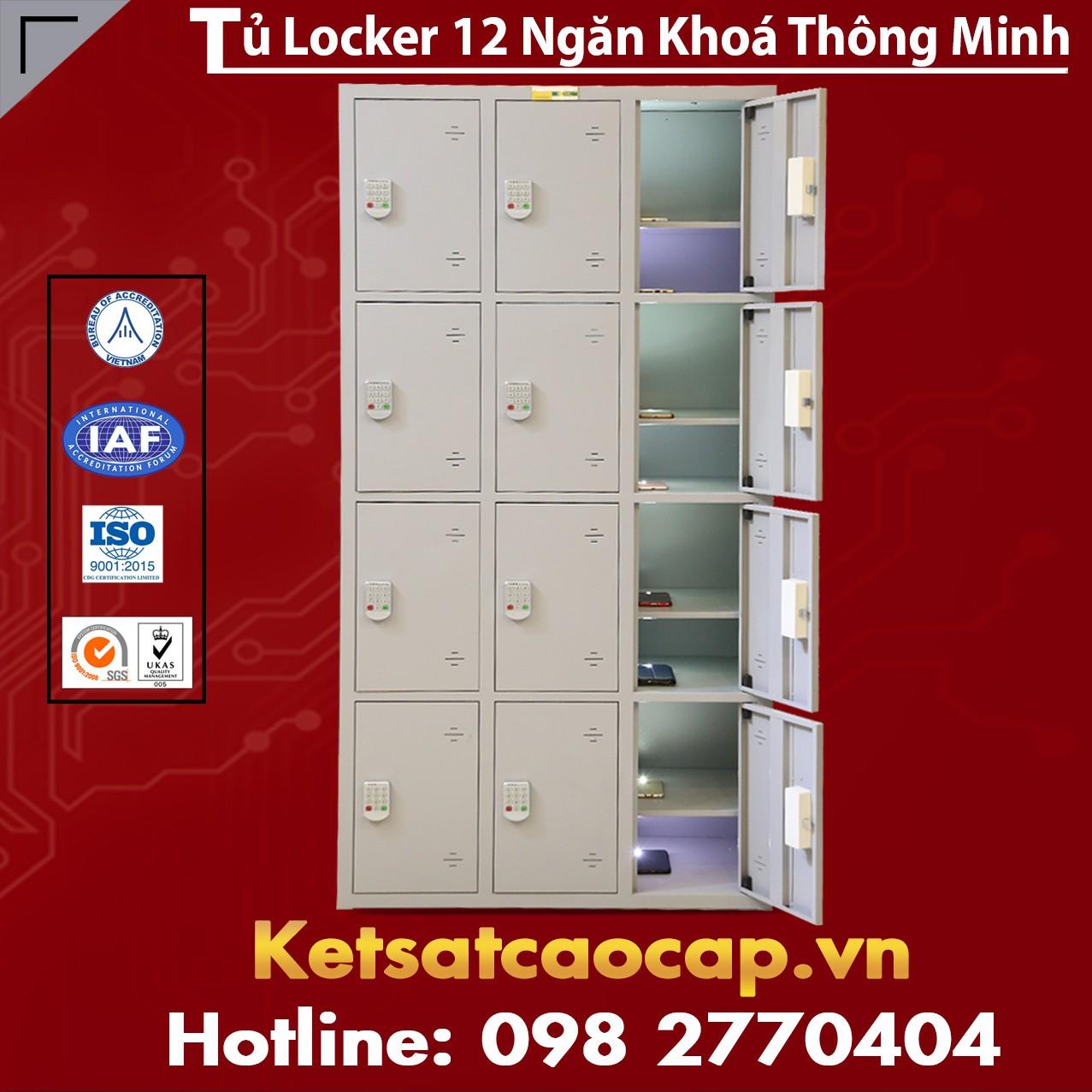 Tủ Locker 12 Ngăn Khoá Thông Minh