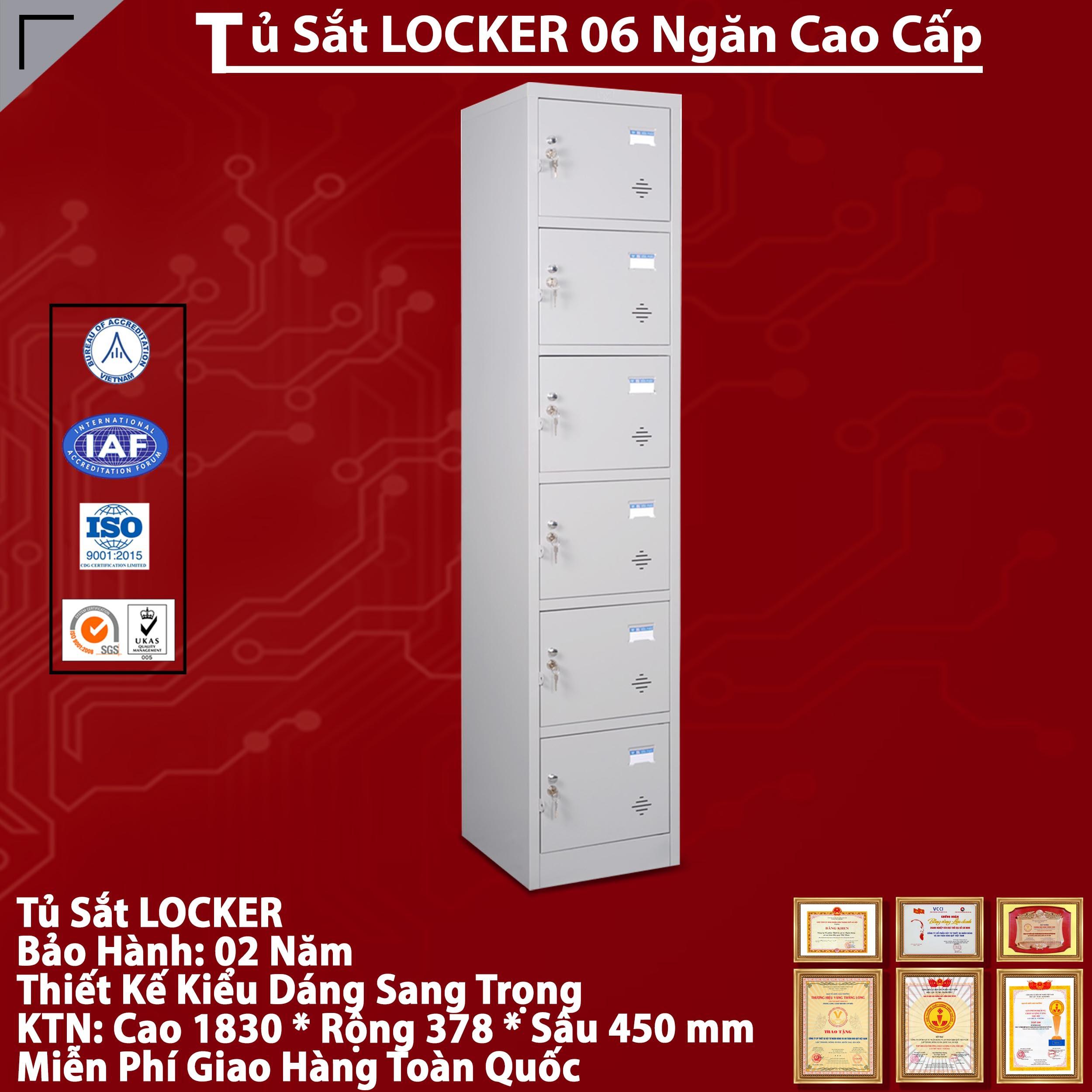 Tủ Locker 6 ngăn TU986 - tủ sắt nhiều ngăn chất lượng, giá rẻ