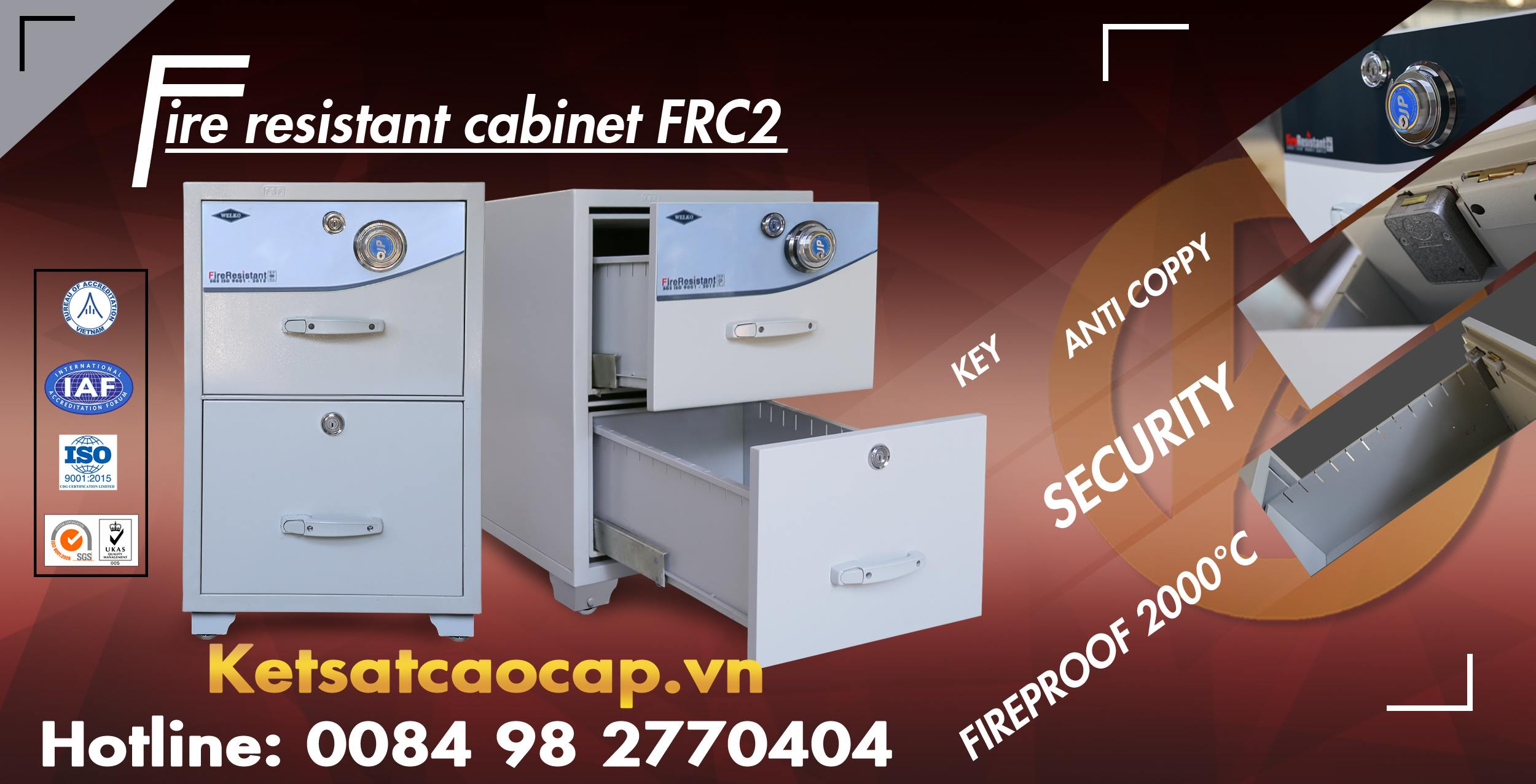 Dia chi ban tu sat an toan dung trong van phong 2 canh nho WELKO Safes Fire Resistant Cabinet uy tin