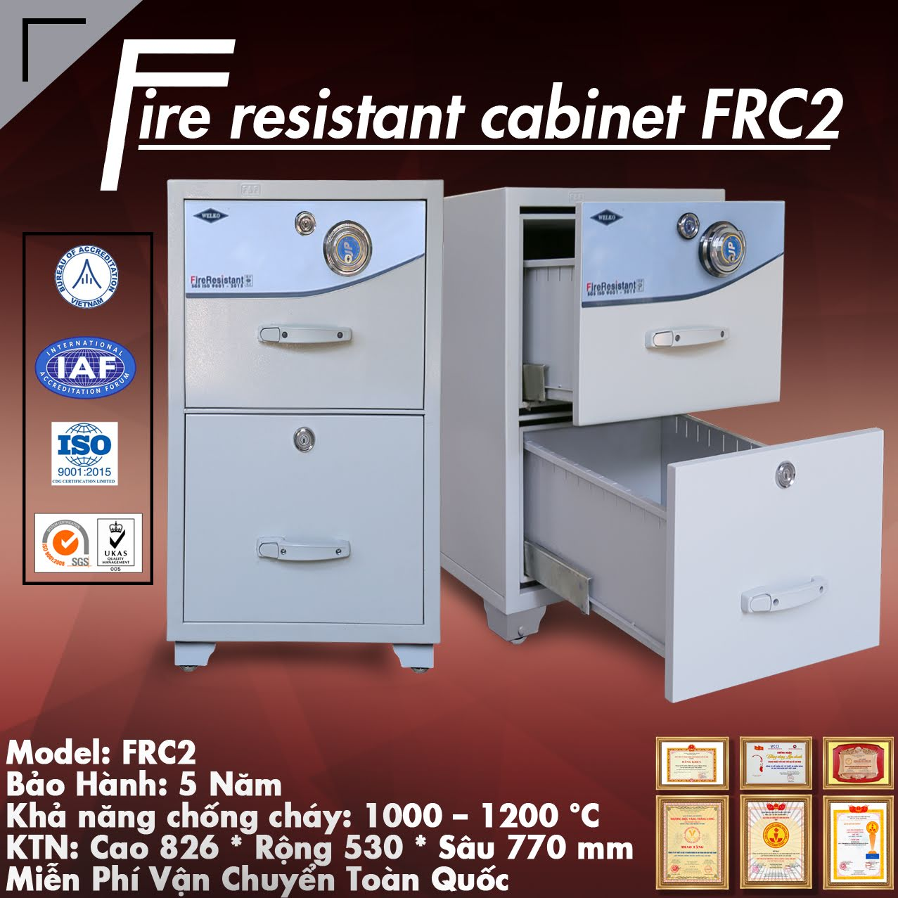 Dai ly cung cap tu sat chong chay van phong 4 canh WELKO Safes Fire Resistant Cabinet