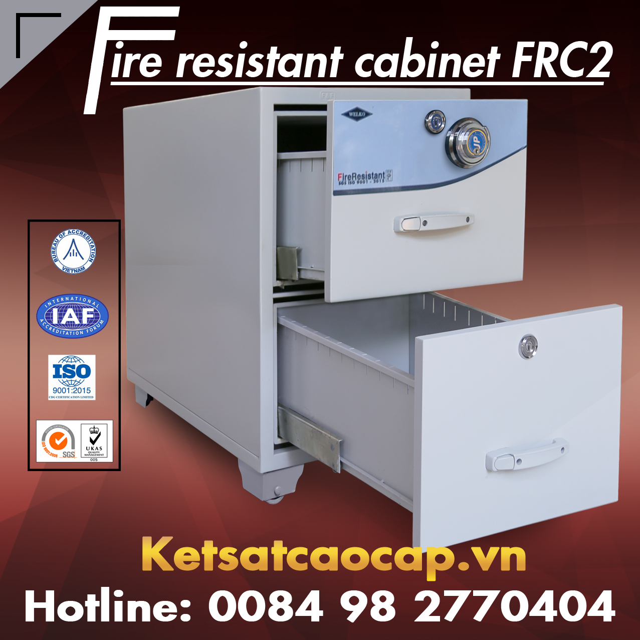 Dai ly cung cap tu sat van phong chinh hang WELKO Safes Fire Resistant Cabinet
