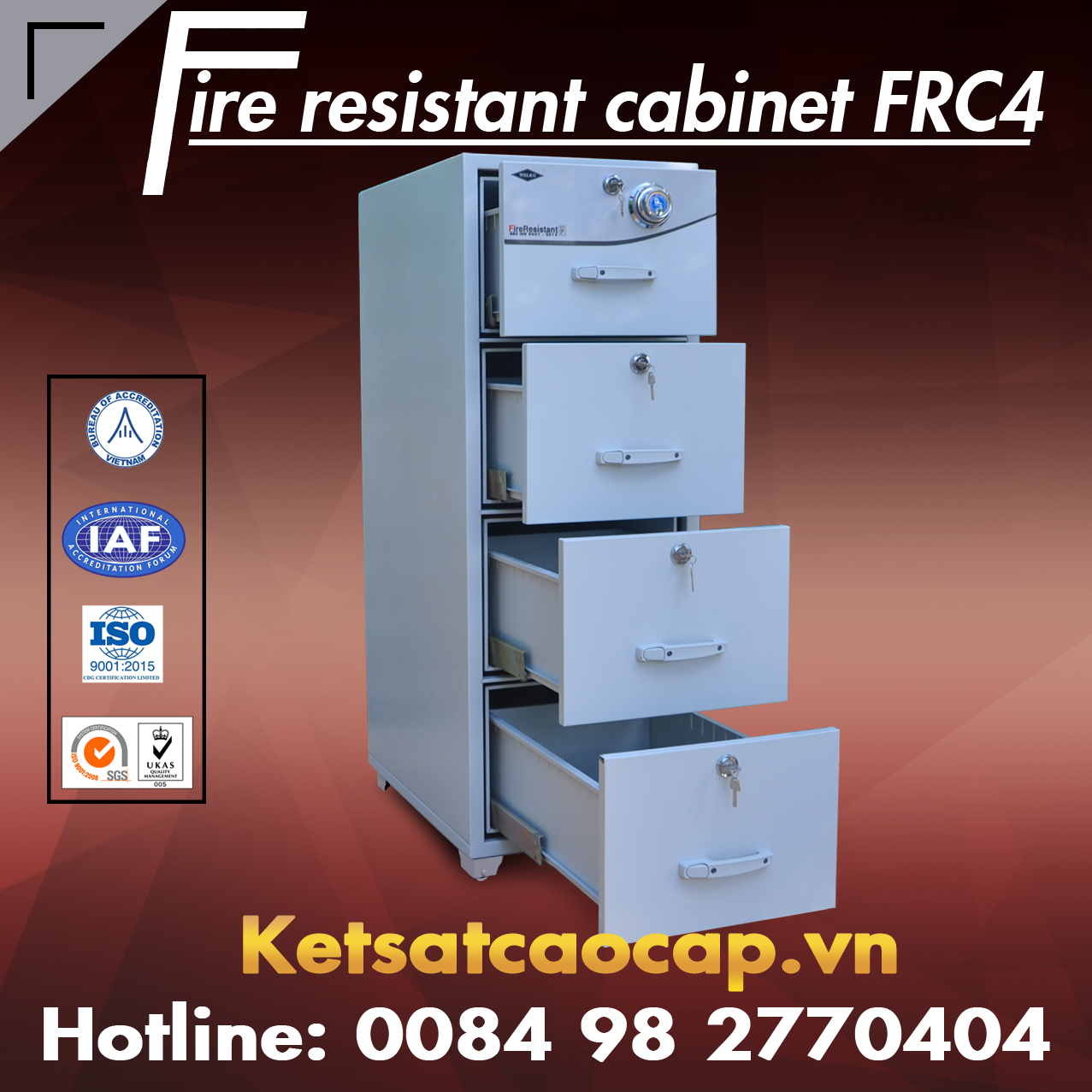 Dai ly ban tu sat chong chay gia re WELKO Safes Fire Resistant Cabinet chinh hang gia re