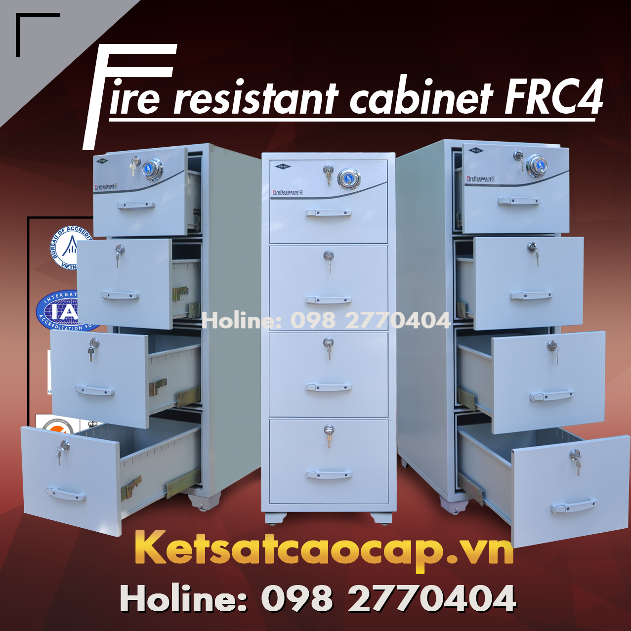 Dai ly cung cap tu sat chong chay 8 ngan WELKO Safes Fire Resistant Cabinet